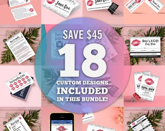 Lipsense Business Cards, Silver Glitter Starter Bundle, Marketing Kit, Lipsense Bundle, Digital, Printable