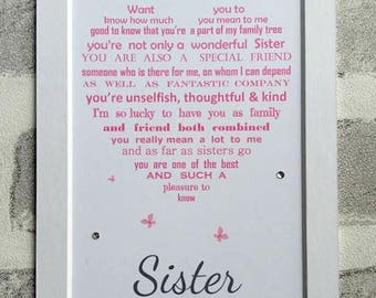 Gifts for Sister, Sister Birthday, Personalized Sister Gifts, Personalised Poem,Birthday Gift, Birthday Gift