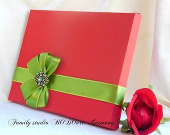 Wedding card box. Box with green bow. Love card box. Bridesmaid box. Sympathy box. Honor box. Appreciation box. Memory paper box. Card box.