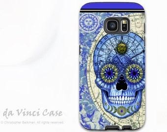 Astrological Skull Case for Samsung Galaxy S7 - Premium Dual Layer S 7 Case - Astrologiskull - Steampunk Blue Skull Case by Da Vinci Case