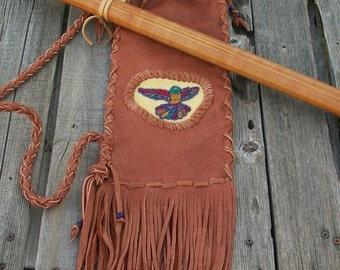 Hummingbird flute bag ,  Fringed flute bag ,  Hummingbird art , Native style flute bag ,  Leather flute bag