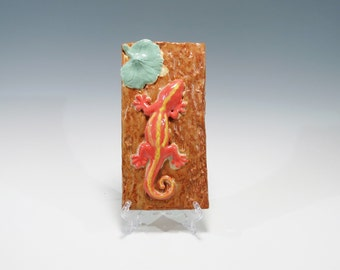 Hand Built Ceramic Lizard Tile  Nature Tile Salamander Tile Ceramic Wall Hanging Ceramic Wall Art Lizard Tile Pottery Lizard Salamander