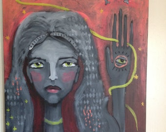 FORTUNE TELLER original acrylic on canvas 20x24