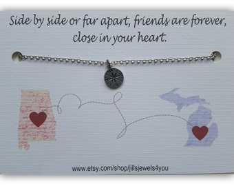 Long Distance Friendship Necklace, Going Away Gift, Compass Necklace, State to State, Best Friend Christmas Gift, Graduation Gift, Waderlust