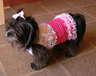 LITTLE MISS FRILLS -Sweet sweater dress - 2 to 20 lb dogs - Made to order