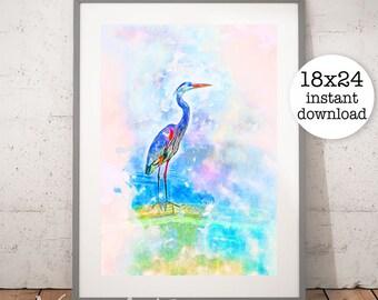 Beach Print, Ocean Print, Bird Print, Heron Print, Crane Print, Coastal Decor, Beach Decor, Beach Wall Art, Digital Download