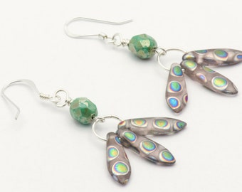 Green Bohemian Earrings | Unique Boho Earrings | Czech Glass Earrings | Sterling Silver Earrings | Fishhook Earrings | Boho Style - EA00452