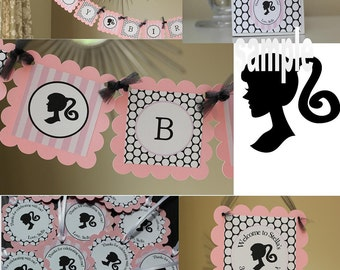 Silhouette birthday PARTY PACK in pink, black, and white