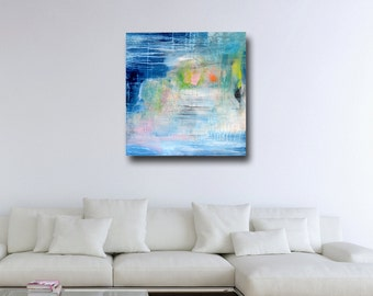 Large Abstract Canvas Print, Giclee Print, Wall Art, Print from Painting, Expressive Canvas Art, White Blue Pink Green Grey Abstract Print