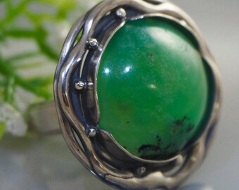 Statement Ring Chrysoprase Sterling Silver