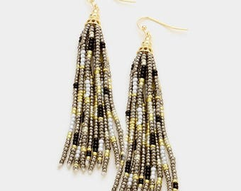 Multi Colored Seed Bead Tassel Earring
