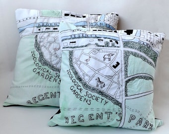 London Zoo, Regents Park Victorian Map Embroidered Cushion / Pillow Cover with Green Fabric Paint and Black Backing Fabric, 50cm