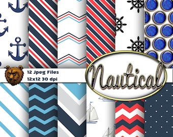 nautical digital paper, scrapbook paper, background