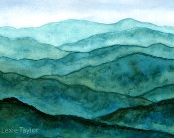 Blue Ridge Mountains Watercolor Giclee Print