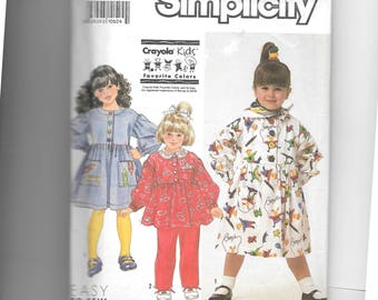 Simplicity Girls' Dress or Smock, Top, Pants and Scarf Pattern 9891