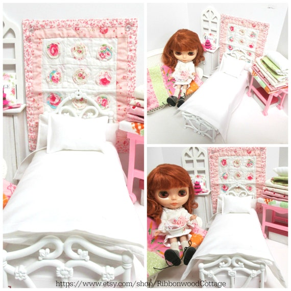 11 inch doll Custom  Basic Pillow, Sheet and Mattress Set-1:6 Scale Doll bed