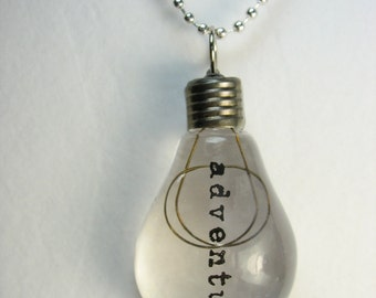 Lightbulb necklace ... acrylic lightbulb pendant on pull chain necklace ... a bright idea
