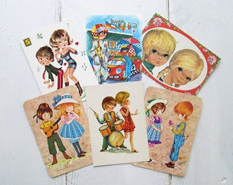 SALE Vintage Retro Postcards. Set of 6. From the 70's. Children couples.