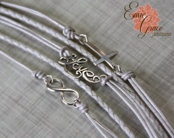 5 Strand Sterling Silver and Leather Bracelet, Faith Love Infinity Layered Bracelet, Cross Bracelet, Women's Multi-Strand Bracelet