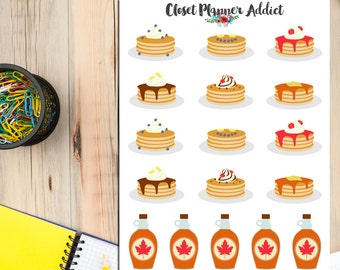 Pancake Day Planner Stickers | Pancakes Stickers | Food Stickers | Maple Syrup | Cute Food | Breakfast Stickers | Yummy Stickers (S-098)