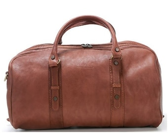 Travel bag made of genuine calf-skin leather hand luggage size