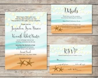 Printable Beach Wedding Invitations .