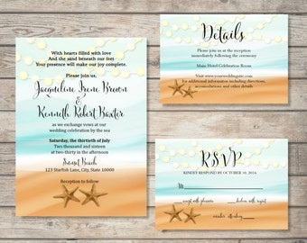 Beach wedding invitation etsy printable beach wedding invitation suite starfish beach wedding invitation set string of lights ocean sand starfish wedding invite set stopboris Images