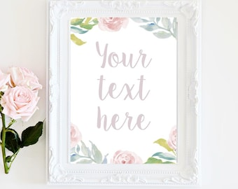 Customized pastel watercolor bridal shower sign - Printable, Baby Shower, your own text or phrase,  5x7