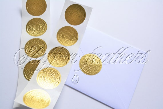 Gold foil sticker seals small round embossed stickers 1 5 in