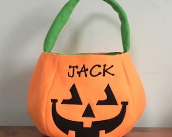 Jack Trick or Treat Bag - Halloween Bag - Pumpkin Bag - Halloween Pumpkin - Personalized Pumpkin - Personalized Halloween