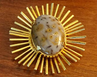gold mid century starburst pin vintage brooch with cabochon FREE SHIPPING
