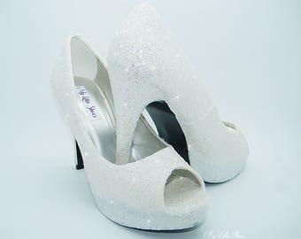 Peep Toe high heels ~ White glitter high heels ~ Wedding, Bride, Bridal, Bridesmaid, New Year, Christmas, Party, Prom, Dance, Cruise, Gift