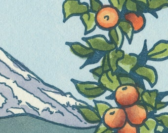 APPLE ORCHARD original hand colored letterpress print featuring Mt. Rainier