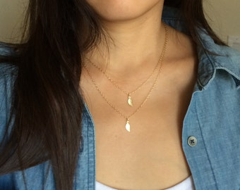 Gold Double Strand Layered Leaf Necklace also in Sterling Silver