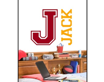 Personalized MONOGRAM with NAME Sports Collegiate Vinyl Wall Decal NM-112