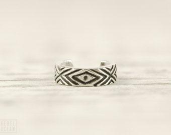 Sterling Silver Ear Cuff Earring Aztec Evil Eye Chevron Ear Wrap Earrings Boho Jewelry - ECU006 SS