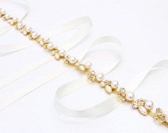 Thin bridesmaid Belt Thin Gold Bridal Belt  Gold Wedding Belt  Rhinestone and Pearl Belt  Gold Wedding Dress Belt Bridal Sash belt