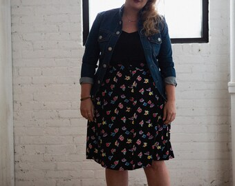 90's mid floral Skirt