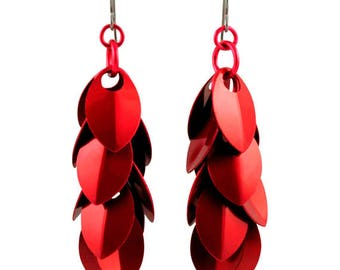 Perfectly Red A Simple Petal Earrings