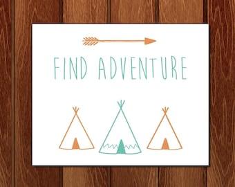 Find Adventure printable nursery art, Instant Download