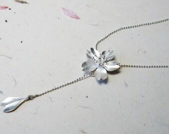 Season-Cherry Blossom-Sakura-Silver Y Necklace/ handmade, lariat & Y necklace