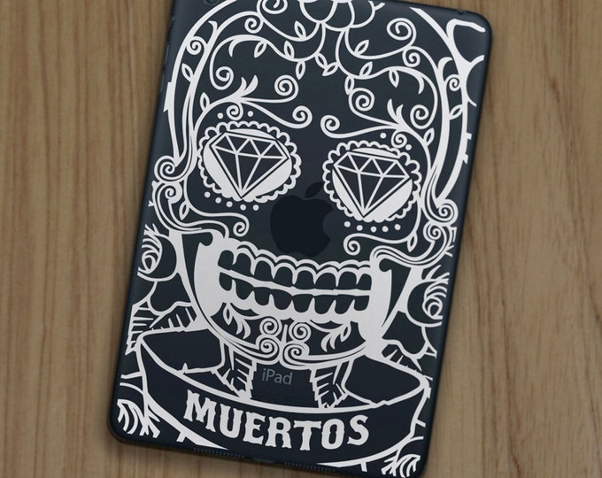 day of the dead iPad decal for iPad and iPad mini, sugar skull sticker art, FREE SHIPPING