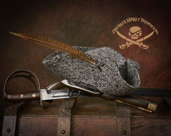 Grey Pirate Tricorn Hat, Straw Hat, Pirate Tricorn, Pirate Hat