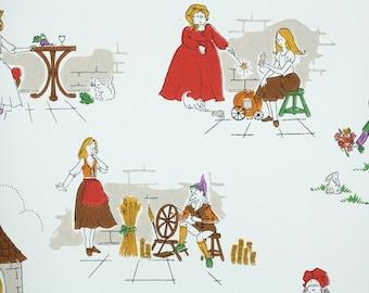 Retro Wallpaper by the Yard 70s Vintage Wallpaper - 1970s Fairy Tale Story Scenes Childrens Nursery Rumpelstiltskin Rapunzel Princess