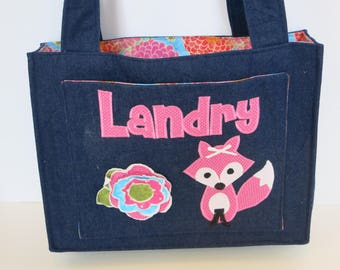 Fox and frayed flower Applique Diaper Bag Personalized Denim - made to order - woodlands  - baby girl - diaper bag - denim diaper bag - tote
