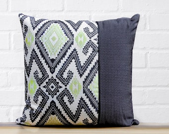 Green and Black Color-block Pillow