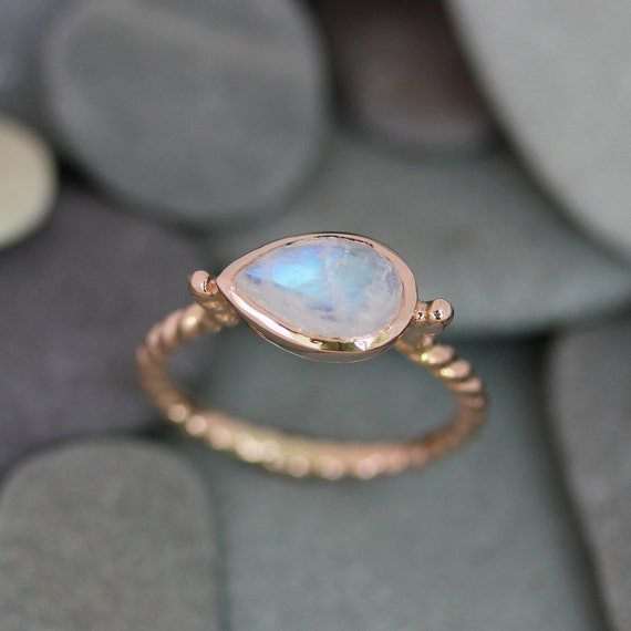 Rainbow Moonstone Ring Pear Shaped Ring Birthstone Jewelry