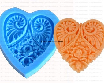 Heart Flexible Silicone Mold Silicone Mould Candy Mold Chocolate Mold Soap Mold Polymer Clay Mold Resin Mold F0048
