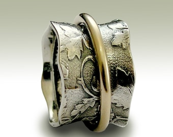 Wedding band, Sterling silver band, gold filled spinner ring, twotone ring, botanical band, silver leaves ring - Nothing else matters R1736A