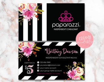 Printable Paparazzi Business Card, Paparazzi Jewelry Consultant Card, Stripe Flower , DIGITAL TEMPLATE - PRINTABLES